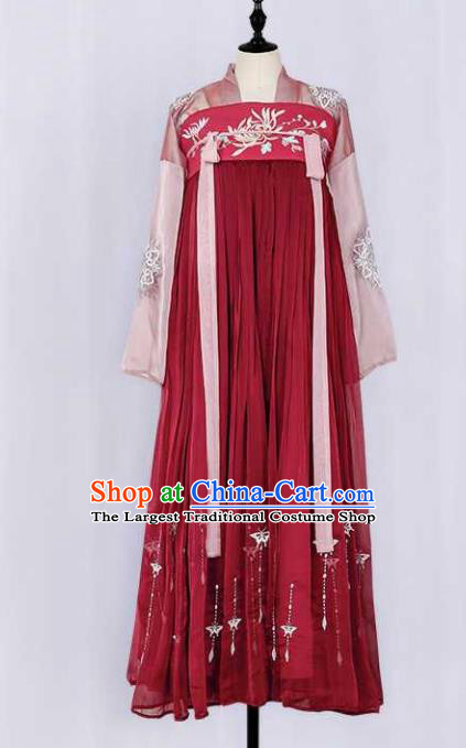Traditional Chinese Ancient Peri Goddess Red Hanfu Dress Tang Dynasty Princess Embroidered Costumes for Women