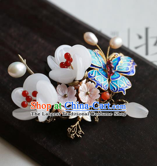 Chinese Traditional Hair Accessories Ancient Handmade Cloisonne Butterfly Hair Claw for Women