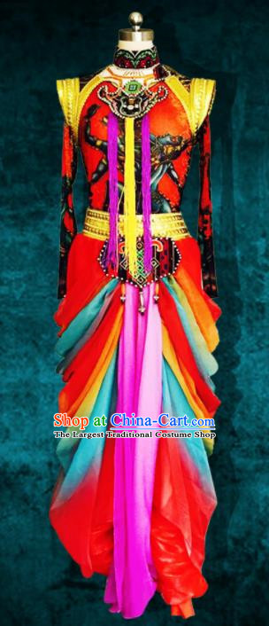 Chinese Traditional Ethnic Costumes Minority Nationality Dance Dress for Women