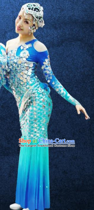Chinese Traditional Dai Ethnic Costumes Stage Performance Minority Nationality Peacock Dance Dress for Women