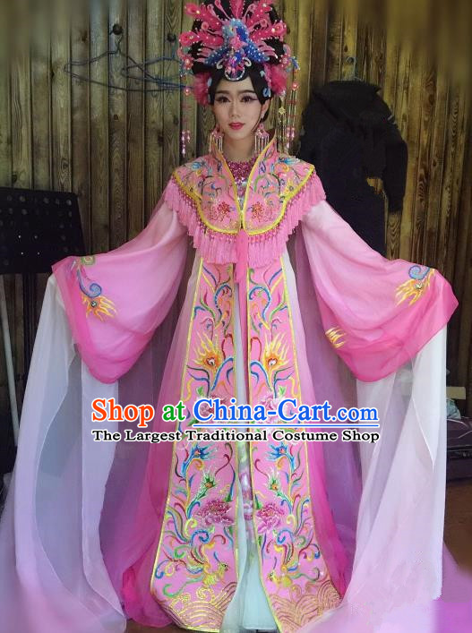 Chinese Traditional Classical Dance Costume Ancient Tang Dynasty Imperial Consort Embroidered Pink Dress for Women