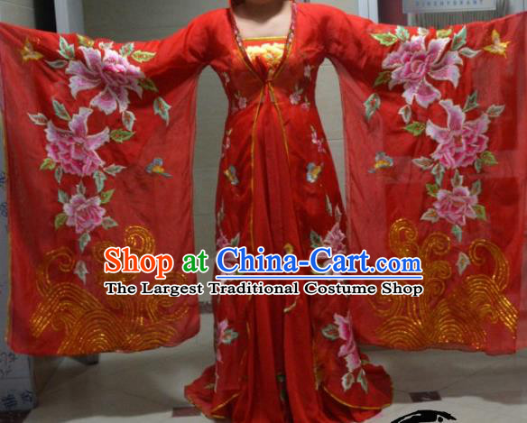Chinese Traditional Classical Dance Embroidered Costume Ancient Tang Dynasty Imperial Consort Red Hanfu Dress for Women