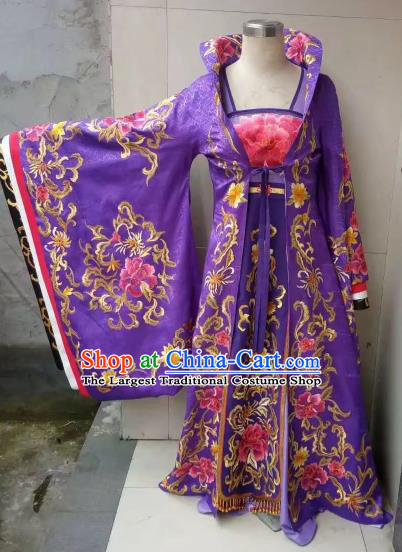 Chinese Traditional Tang Dynasty Embroidered Costume Ancient Imperial Consort Purple Hanfu Dress for Women