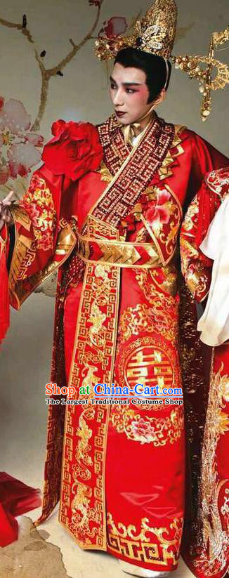 Chinese Traditional Wedding Embroidered Robe Ancient Tang Dynasty Emperor Costumes for Men