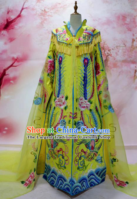 Traditional Chinese Tang Dynasty Historical Costumes Ancient Empress Embroidered Yellow Hanfu Dress for Women