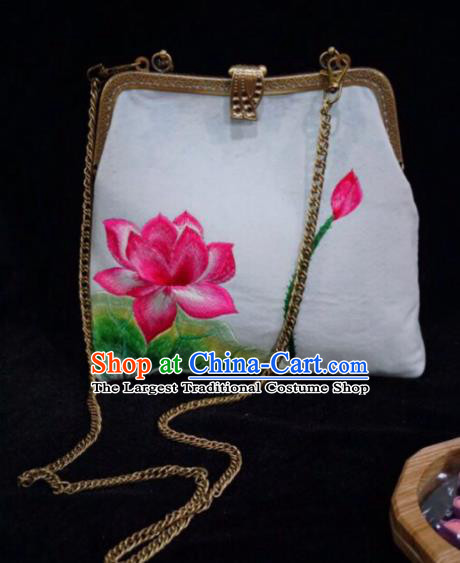 Chinese Traditional Embroidered Craft Handmade Embroidery Lotus White Bags for Women