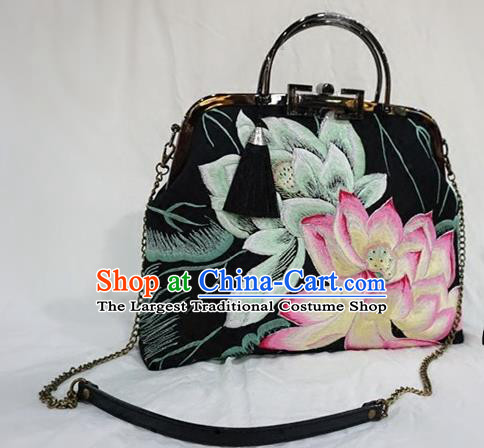 Chinese Traditional Embroidered Craft Handmade Embroidery Lotus Black Bags for Women