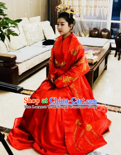 Traditional Chinese Tang Dynasty Wedding Historical Costumes Ancient Princess Embroidered Red Clothing for Women