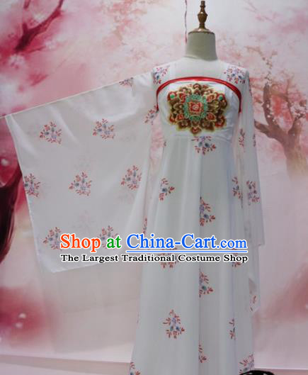 Chinese Traditional Embroidered Costume Ancient Tang Dynasty Princess White Hanfu Dress for Women