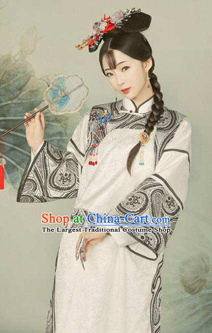 Traditional Chinese Qing Dynasty Manchu Costumes Ancient Princess Hanfu Dress for Women