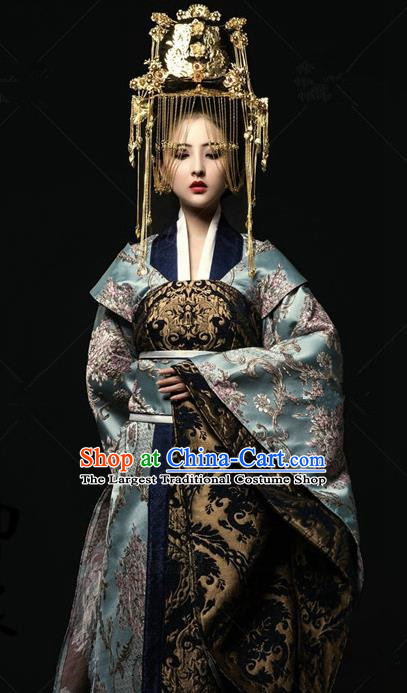 Traditional Chinese Tang Dynasty Palace Lady Costumes Ancient Empress Dress and Headpiece for Women
