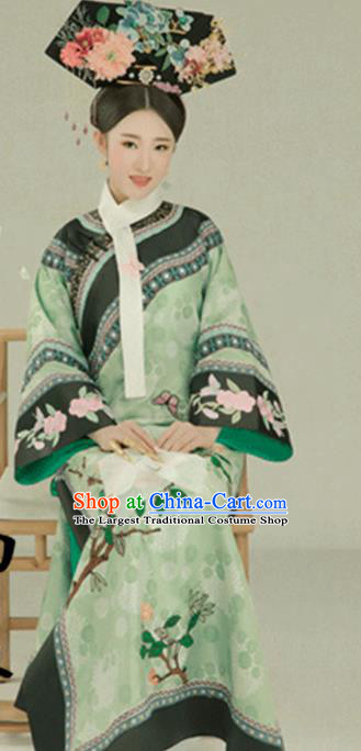 Traditional Chinese Qing Dynasty Manchu Princess Costumes Ancient Imperial Consort Clothing and Headpiece for Women