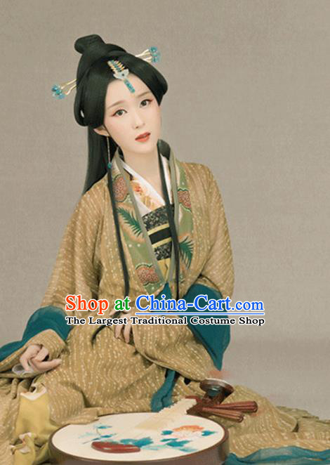 Traditional Chinese Ancient Tang Dynasty Queen Costumes and Headpiece for Women
