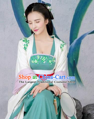 Traditional Chinese Tang Dynasty Princess Costumes Ancient Peri Green Dress for Women