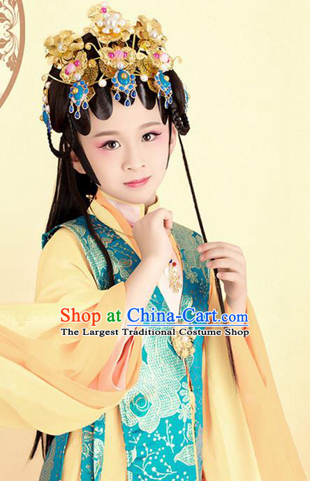 Traditional Chinese Ancient Beijing Opera Peri Princess Costumes and Headpiece for Kids