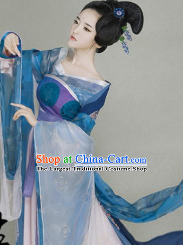 Traditional Chinese Ancient Tang Dynasty Imperial Consort Costumes and Headpiece Complete Set for Women