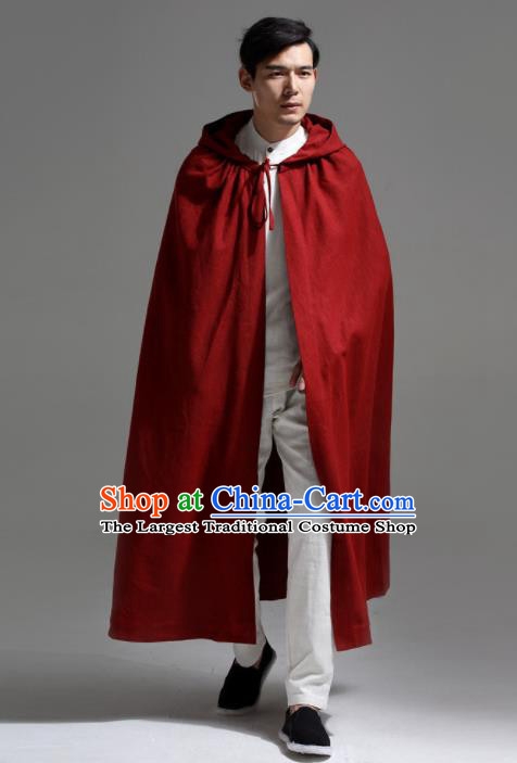 Chinese Traditional Ancient Swordsman Costumes Red Cloak for Men