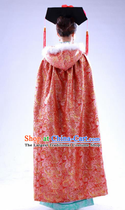 Chinese Traditional Costumes Ancient Qing Dynasty Princess Hanfu Red Brocade Cloak for Women