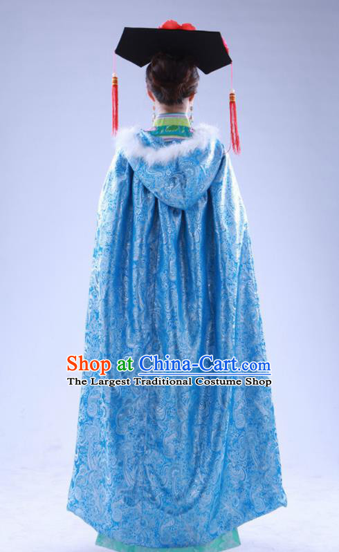 Chinese Traditional Costumes Ancient Qing Dynasty Princess Hanfu Blue Brocade Cloak for Women