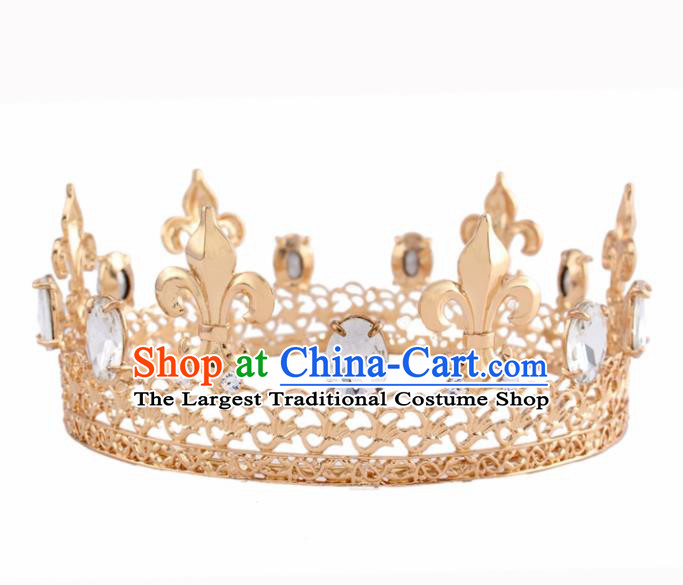 Baroque Style Hair Accessories Queen Crystal Golden Royal Crown for Women