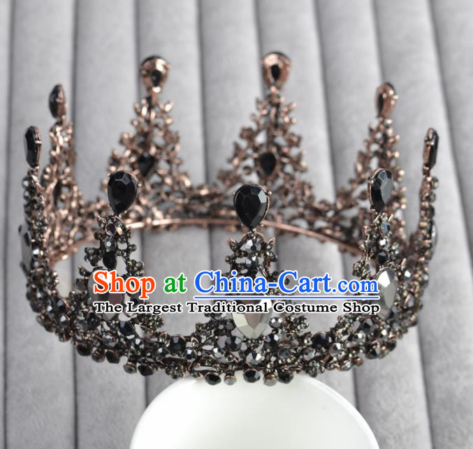 Baroque Style Bride Hair Accessories Queen Black Round Royal Crown for Women