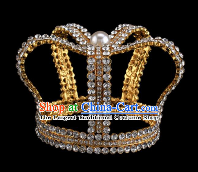Baroque Style Bride Hair Accessories Queen Round Crystal Golden Royal Crown for Women