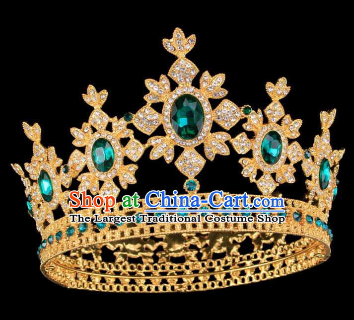 Baroque Style Bride Hair Accessories Princess Round Green Crystal Royal Crown for Women