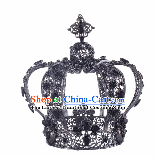 Baroque Style Bride Hair Accessories Queen Retro Round Royal Crown for Women