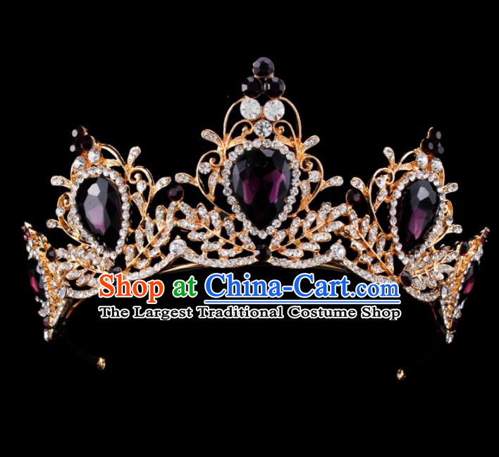 Baroque Style Bride Hair Accessories Queen Retro Purple Crystal Royal Crown for Women