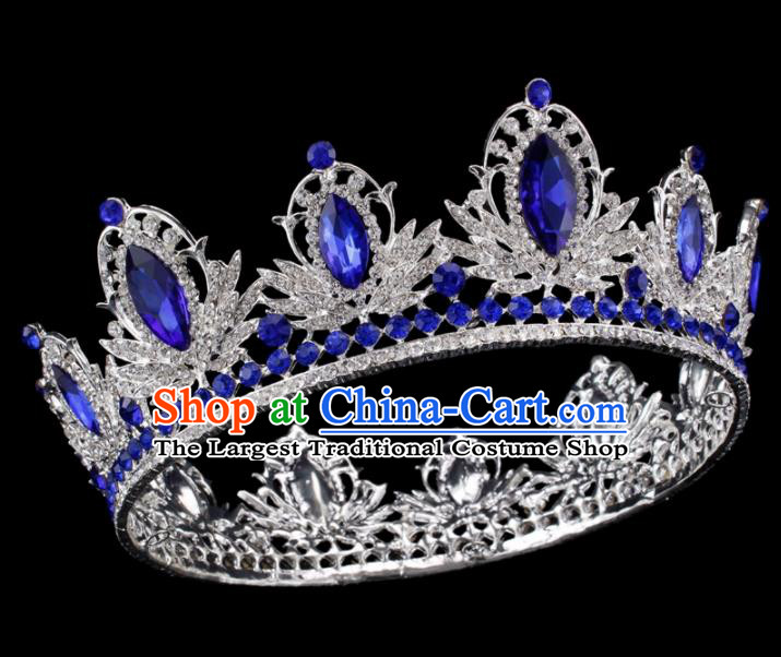 Baroque Style Bride Hair Accessories Princess Retro Blue Crystal Royal Crown for Women