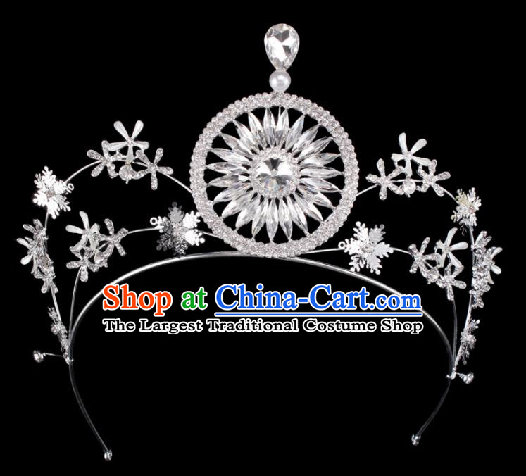 Baroque Wind Hair Accessories Bride Retro Crystal Argent Royal Crown for Women