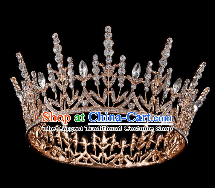 Baroque Wind Hair Accessories Bride Retro Golden Crystal Royal Crown for Women
