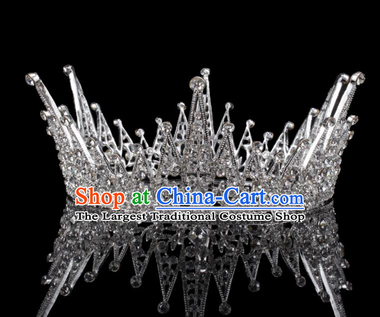 Baroque Wind Hair Accessories Bride Retro Crystal Round Royal Crown for Women