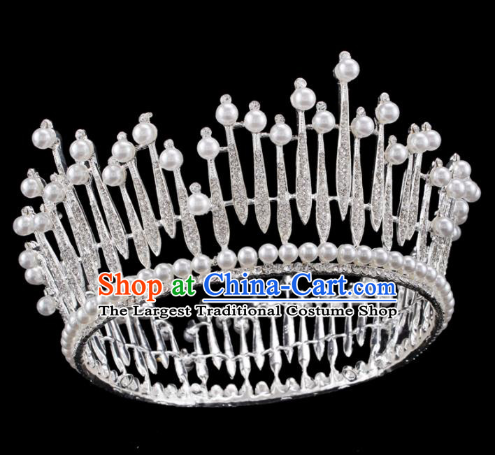 Baroque Wind Hair Accessories Bride Retro Crystal Pearls Royal Crown for Women