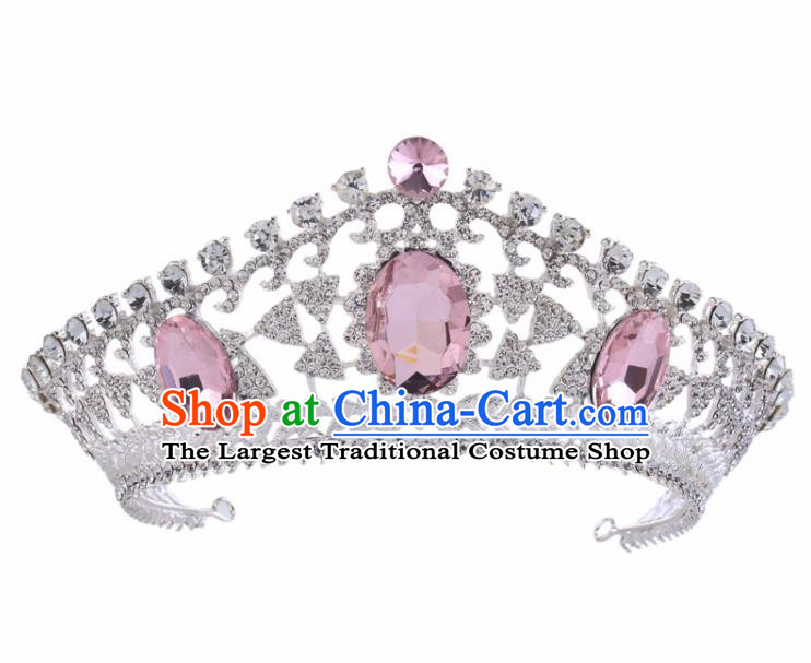 Top Grade Baroque Bride Retro Hair Accessories Princess Pink Crystal Royal Crown for Women