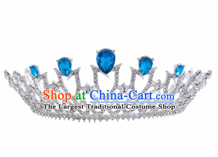 Top Grade Baroque Retro Wedding Hair Accessories Bride Blue Crystal Royal Crown for Women