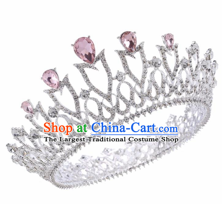 Top Grade Baroque Retro Wedding Hair Accessories Bride Pink Crystal Royal Crown for Women