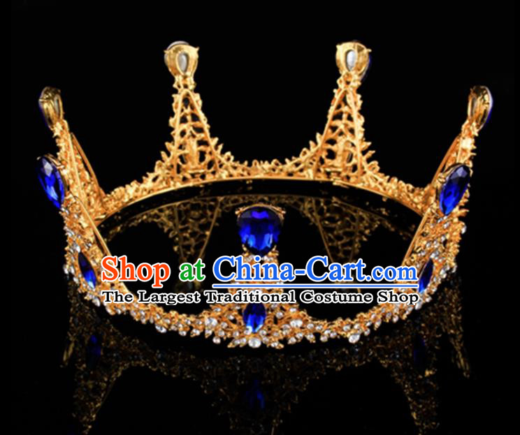 Top Grade Baroque Retro Round Golden Royal Crown Bride Blue Crystal Wedding Hair Accessories for Women