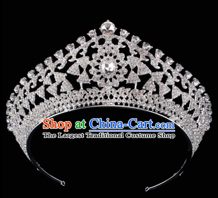 Top Grade Baroque Princess Retro Royal Crown Bride Crystal Wedding Hair Accessories for Women