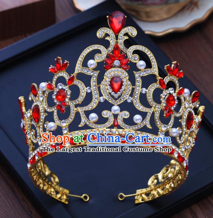 Top Grade Baroque Princess Retro Pearls Royal Crown Bride Red Crystal Wedding Hair Accessories for Women