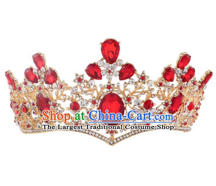 Top Grade Baroque Princess Retro Royal Crown Bride Red Crystal Wedding Hair Accessories for Women