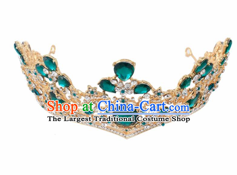 Top Grade Baroque Princess Retro Green Crystal Royal Crown Bride Wedding Hair Accessories for Women