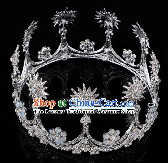 Top Grade Baroque Princess Retro Round Royal Crown Bride Crystal Wedding Hair Accessories for Women