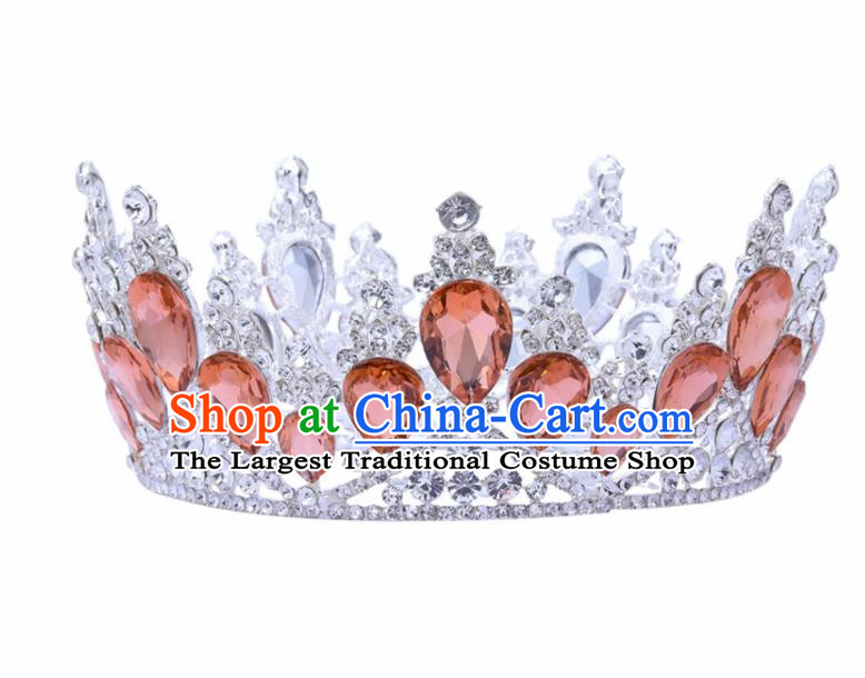 Top Grade Baroque Princess Retro Round Royal Crown Bride Orange Crystal Wedding Hair Accessories for Women