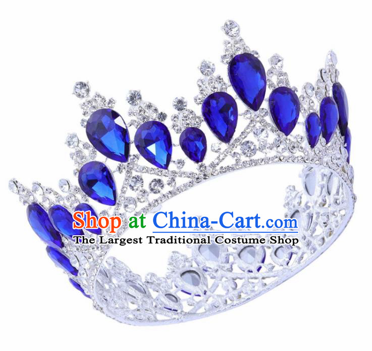 Top Grade Baroque Princess Retro Round Royal Crown Bride Blue Crystal Wedding Hair Accessories for Women