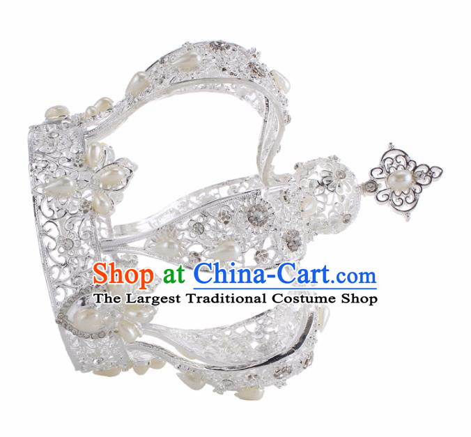Top Grade Baroque Queen White Royal Crown Bride Crystal Retro Wedding Hair Accessories for Women