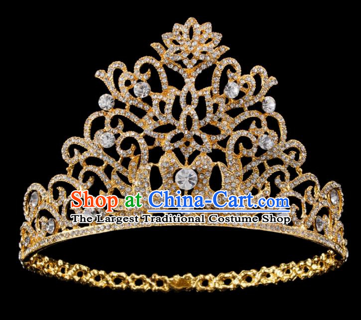 Top Grade Baroque Queen Golden Royal Crown Bride Retro Wedding Hair Accessories for Women