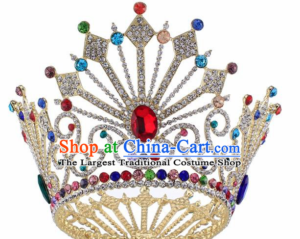 Top Grade Baroque Queen Colorful Crystal Royal Crown Bride Retro Wedding Hair Accessories for Women