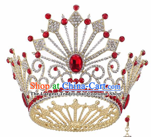 Top Grade Baroque Queen Red Crystal Golden Royal Crown Bride Retro Wedding Hair Accessories for Women