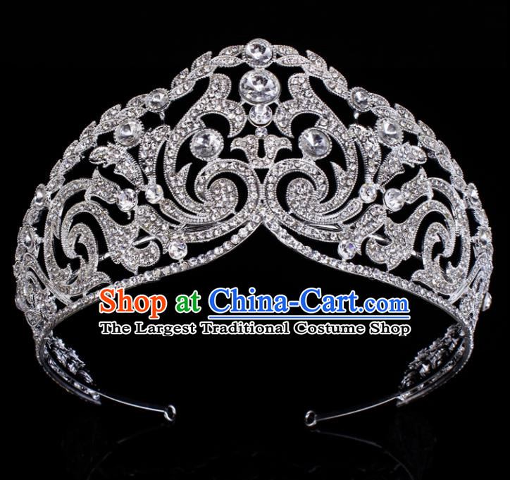 Top Grade Baroque Crystal Royal Crown Bride Retro Wedding Hair Accessories for Women
